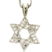 "Modern Estate 14K White Gold Diamond Star of David Pendant w/18"" 14K Chain"