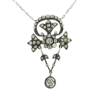 SALE 18K and Sterling Silver Georgian Rose Cut Diamond Necklace