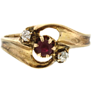 SALE 14K Yellow Gold Synthetic Ruby & Diamond By-Pass Ring