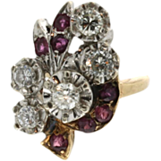 SALE Vintage Art Retro 14K Yellow Gold Ruby & Diamond Ring