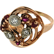 SALE Art Retro14K Rose Gold Synthetic Ruby & Diamond Ring