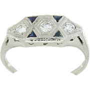 SALE Art Deco 18K White Gold Diamond & Synthetic Sapphire Ring