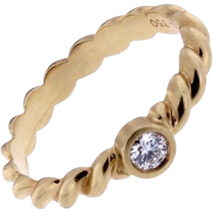 Tiffany Co 18k Yellow Gold Diamond Ring From