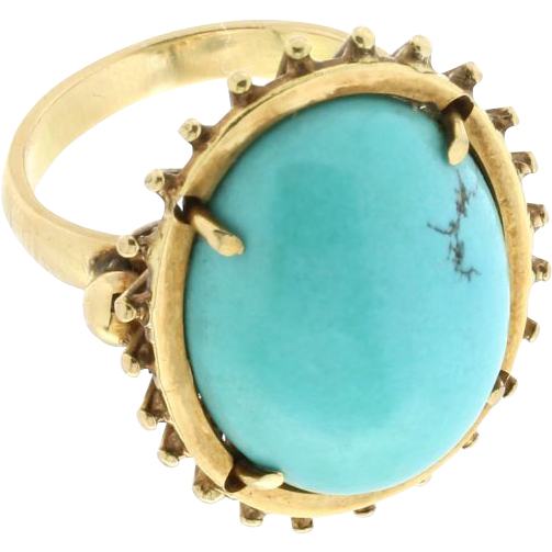 18k yellow gold turquoise ring from