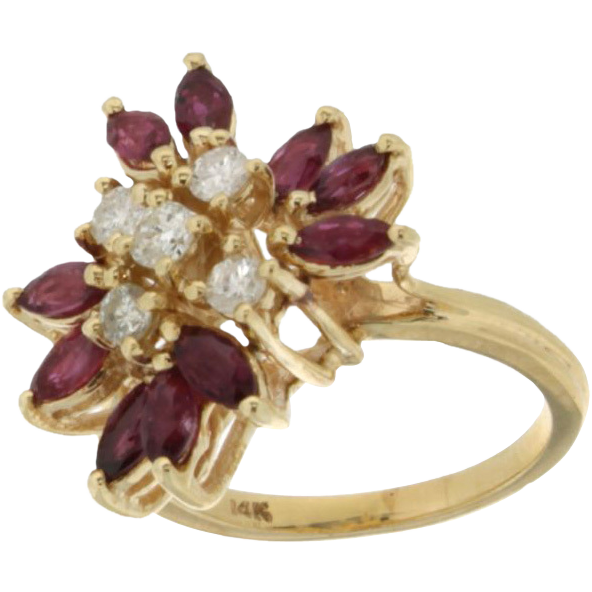 Vintage 14K Yellow Gold Diamond & Ruby Ring