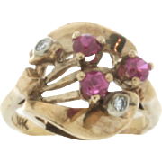 SALE Art Retro 14K Rose Gold Synthetic Ruby & Diamond Ring