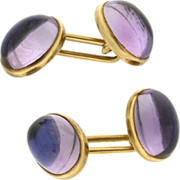 SALE Vintage 14K Yellow Gold Cabochon Amethyst Cuff Links