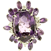 SALE 14K White Gold Handmade Amethyst and Diamond Ring