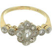 Edwardian 18K Yellow Gold Diamond Ring w/ Platinum Top