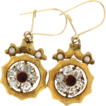 Victorian 10K Yellow Gold Paste & Seed Pearl Earrings w/ 14K Top
