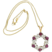 Modern Estate Platinum & 14K Yellow Gold Pink Cabochon Sapphire & Diamond Pendant w/ 14K Chain
