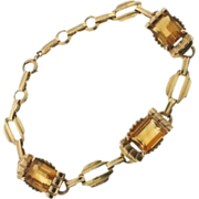 Vintage 14kt Yellow Gold & Citrine Bracelet