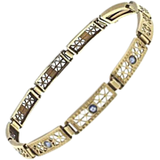 SALE 14K Yellow Gold & Synthetic Sapphire Bracelet