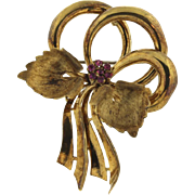 SALE VIntage 18k Gold and Ruby Bow Pin