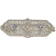 Art Deco White Gold, Sapphire and Diamond Pin/Pendant