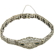 SALE Art Deco 14K White Gold Filigree Diamond Bracelet