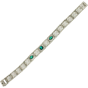 Art Deco Chrome Green Doublet Filigree Bracelet