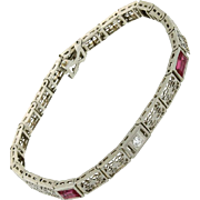 SALE Art Deco 14K White Gold Diamond & Synthetic Ruby Bracelet