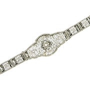 SALE Art Deco 14K White Gold Filigree Diamond Bracelet w/ Platinum Top