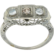 18K White Gold Diamond & Moonstone Filigree Art Deco Ring