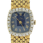 Vintage Ladies 18k Yellow Gold, Diamond and Lapis Watch