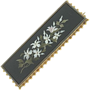 SALE Vintage18K Yellow Gold Pietra Dura Rectangular Pin
