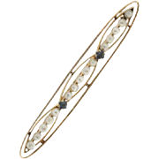 SALE Vintage 14K Yellow Gold Seed Pearl & Synthetic Sapphire Bar Pin