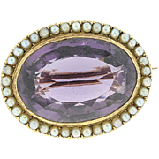 SALE Vintage 10kt. Yellow Gold Pin w/ Amethyst and Seed Pearls