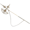Victorian 14K Yellow Gold Seed Pearl & Diamond Scottish Halberd Brooch