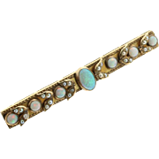 SALE 14kt Yellow Gold Opal and Seed Pearl Bar Pin