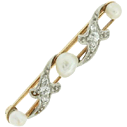 SALE Vintage 14K Yellow Gold & Platinum Pearl and Diamond Pin