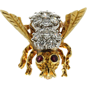 SALE Vintage 18K Yellow Gold & Diamond Bumble Bee Pin