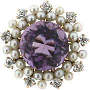 SALE Vintage 14K Yellow Gold Amethyst, Pearl and Diamond Pin
