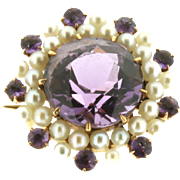 SALE Vintage 14K Yellow Gold Amethyst and Seed Pearl Pin