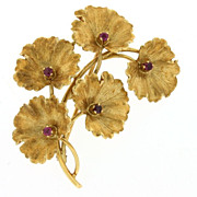 "SALE ""Tiffany & Co"" 18K Yellow Gold & Ruby Pin c. 1970's"