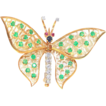 Vintage 18K Yellow Gold Diamond & Gemstone Butterfly Brooch