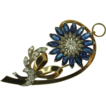Art Retro 14K Yellow Gold Sapphire & Diamond Pin