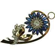 SALE Art Retro 14K Yellow Gold Sapphire & Diamond Pin