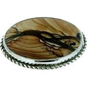 SALE Sterling Silver & Picture Jasper Brooch