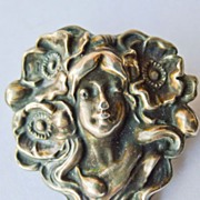 SALE Antique Art Nouveau Sterling Silver Front Brooch Woman's Face Circa 1900