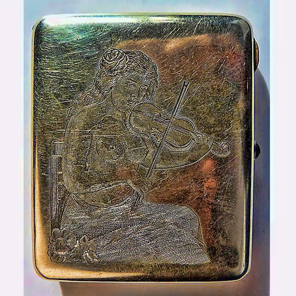 Antique Art Nouveau Russian Silver Risque Woman Cigarette Box - Circa   1900