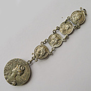 Antique Art Nouveau Artist Signed Silver Plated Fob - Circa 1900