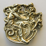 Large Beautiful Antique Art Nouveau Sterling Front Brooch - Circa 1900