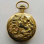 Pocket Watch 14kt Gold - Ladies Antique Art Nouveau - Waltham - Circa 1900