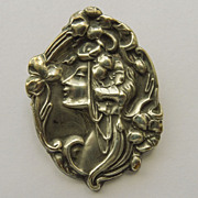 Large Brooch - Sterling Front Antique Art Nouveau Brooch - Circa 1900