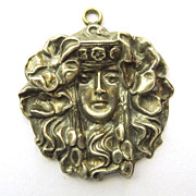Pendant - Sterling Front Large Antique Art Nouveau  - Circa 1900