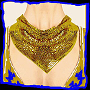 SALE WHITING DAVIS Vintage 1970s Gold Metallic Mesh Bib Necklace Disco Era