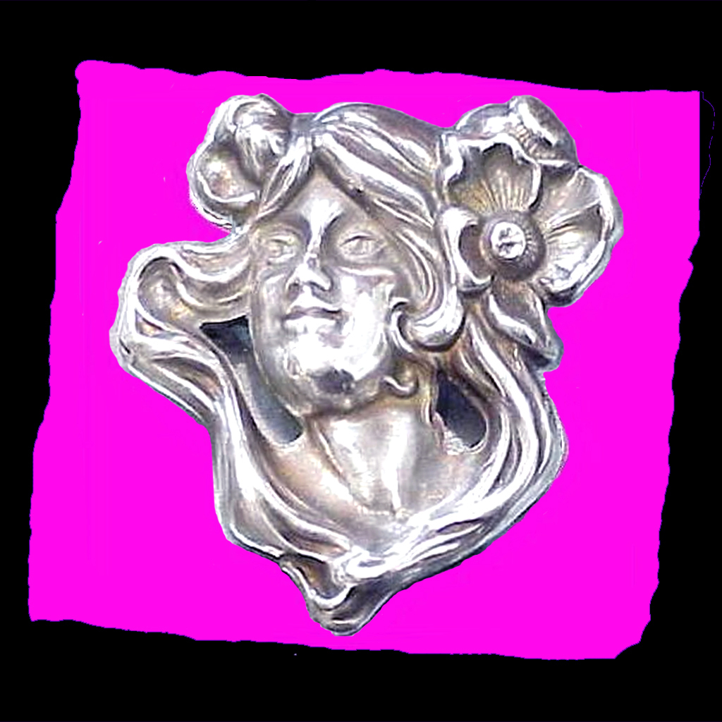 ART NOUVEAU Antique Handwrought Sterling Silver Visage Maiden Flowing Hair Lady's Face Pin