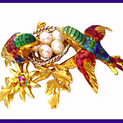 SALE LOVEBIRDS 18K Gold Cultured Pearl Enamel Italy Italian Brooch Pin
