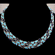 SALE TRIFARI Rare Modern Mosaics Blue French Glass Collar Necklace